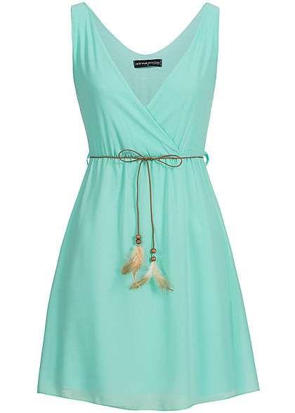 Styleboom Fashion Damen Mini Chiffon Kleid Bindegürtel mit ...