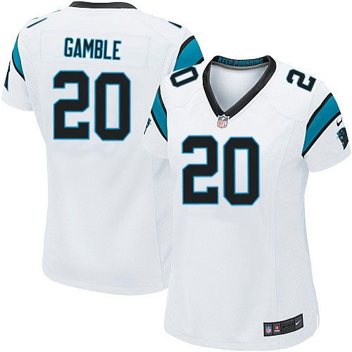 black team color nfl jersey sale women nike carolina panthers 20 chris gamble game white nfl jersey sale