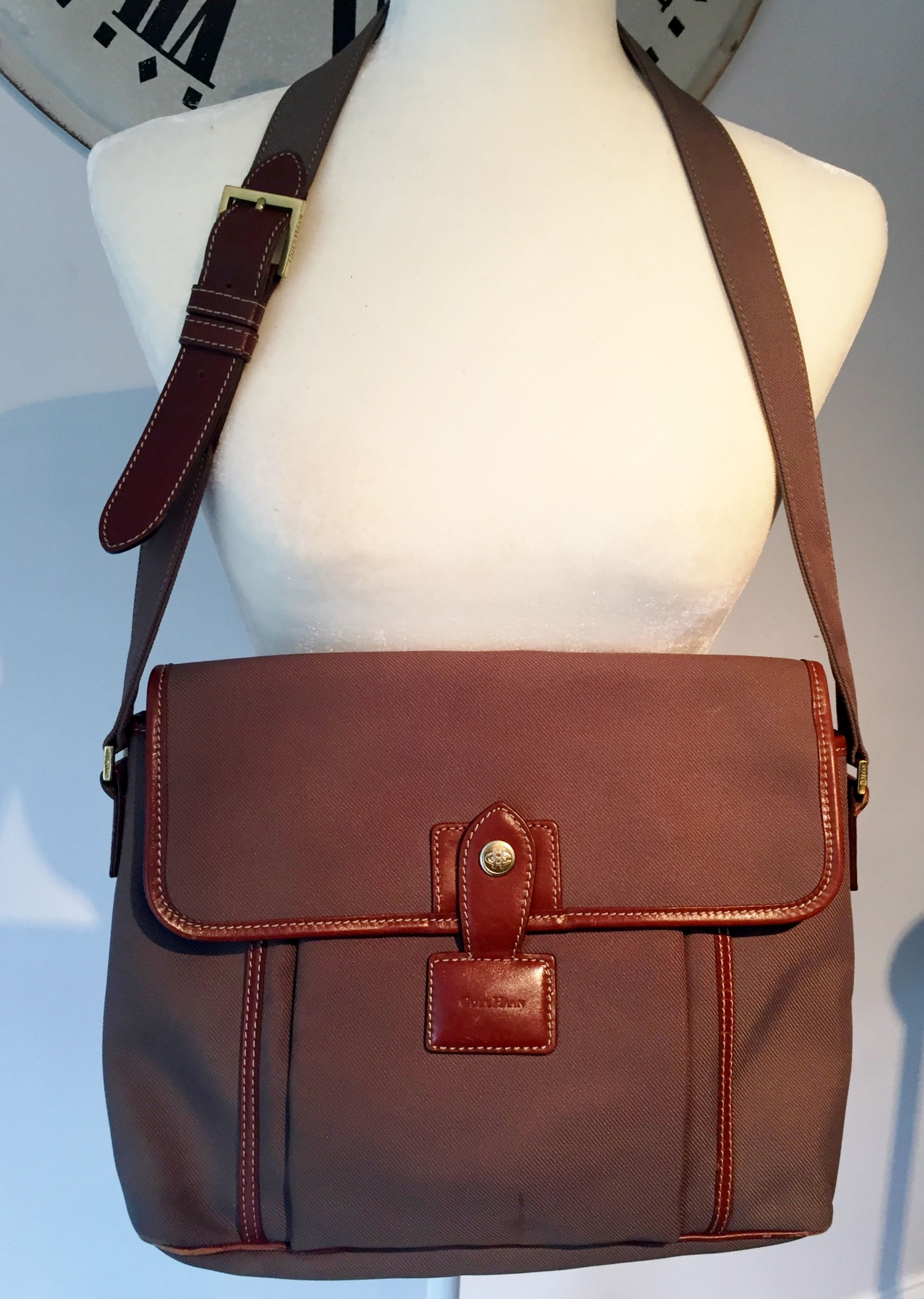 25e637416305 Cole Haan Messenger Dark Sage Canvas Saddle Brown Leather Trim ...