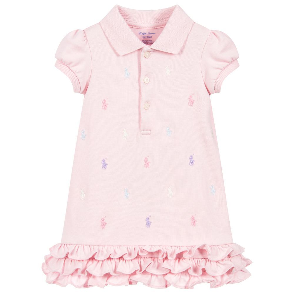 f8f9feab0 A cute polo dress by Ralph Lauren with a ruffle hem and embroidered ...