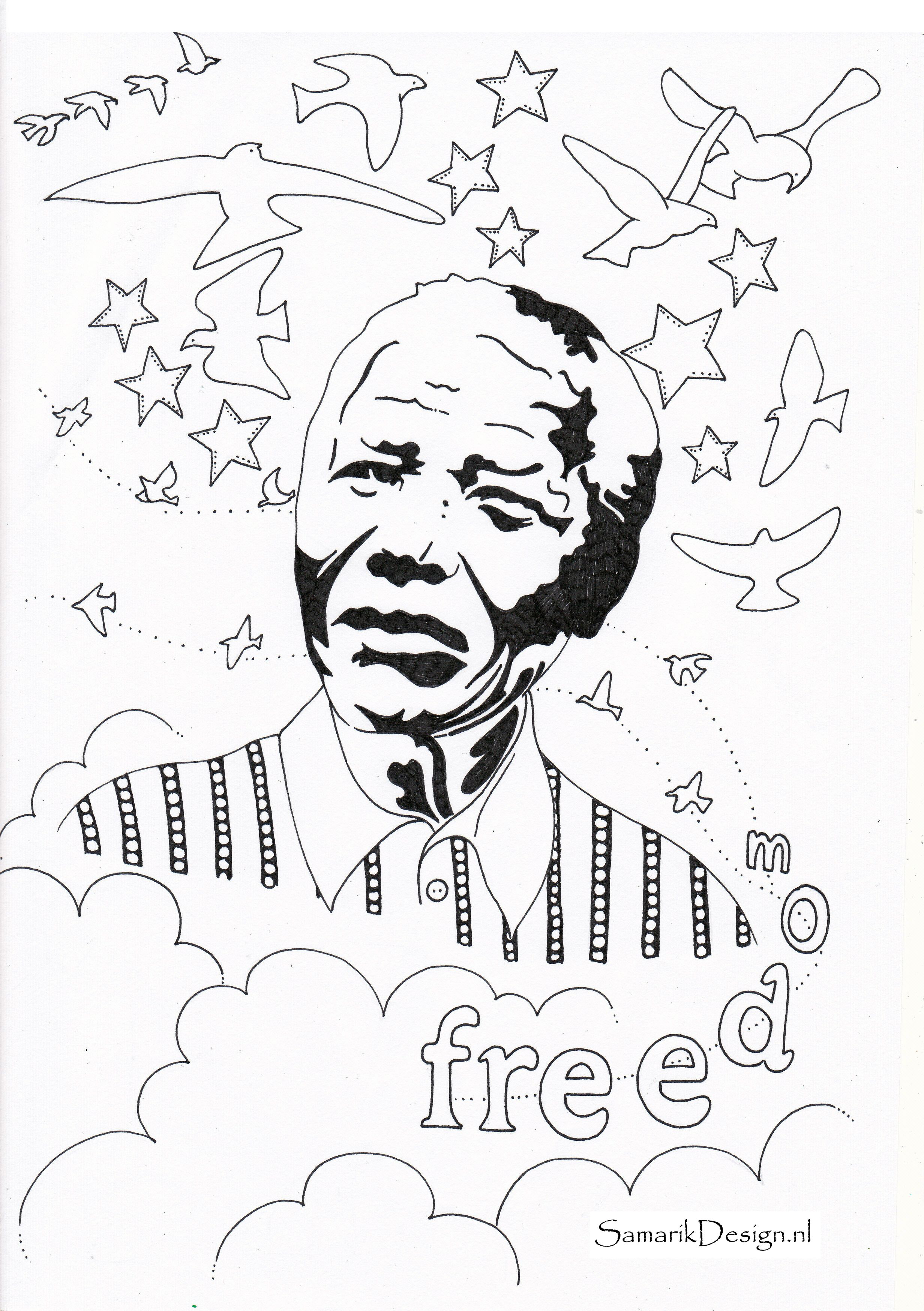Nelson Mandela Famous People Black History Month Crafts Nelson Mandela Art Enchanted Forest Coloring Book