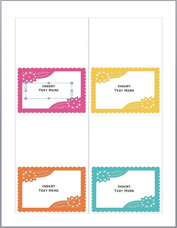 Place Cards Or Food Tents Fiesta Diy Printable Papel Picado Editable In Ms Word Instant Downlo Tent Cards Place Card Template Free Place Card Template