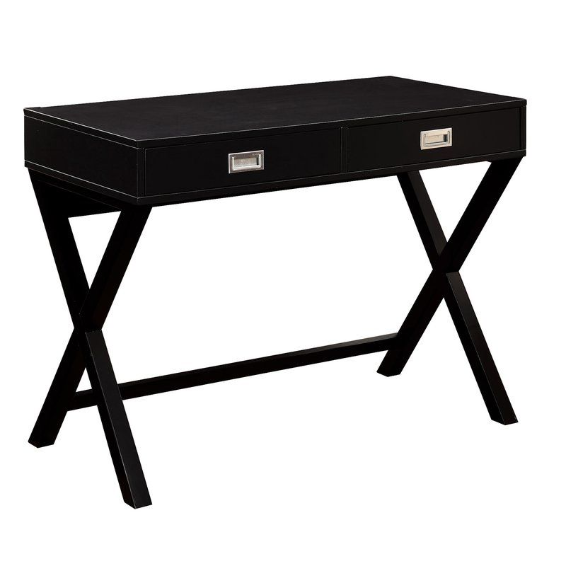 Bring Mod Styling To Your Home Office With This Contemporary Writing Desk Made From Solid Wood This Campaign Wood Writing Desk Desk Writing Desk With Drawers