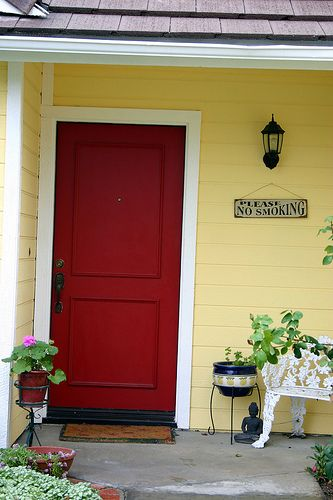 yellow house with red door - would a red door and accents with our