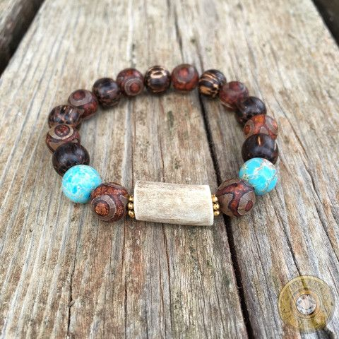 Shed Antler Stretch Bracelet with Stone and Wooden Beads