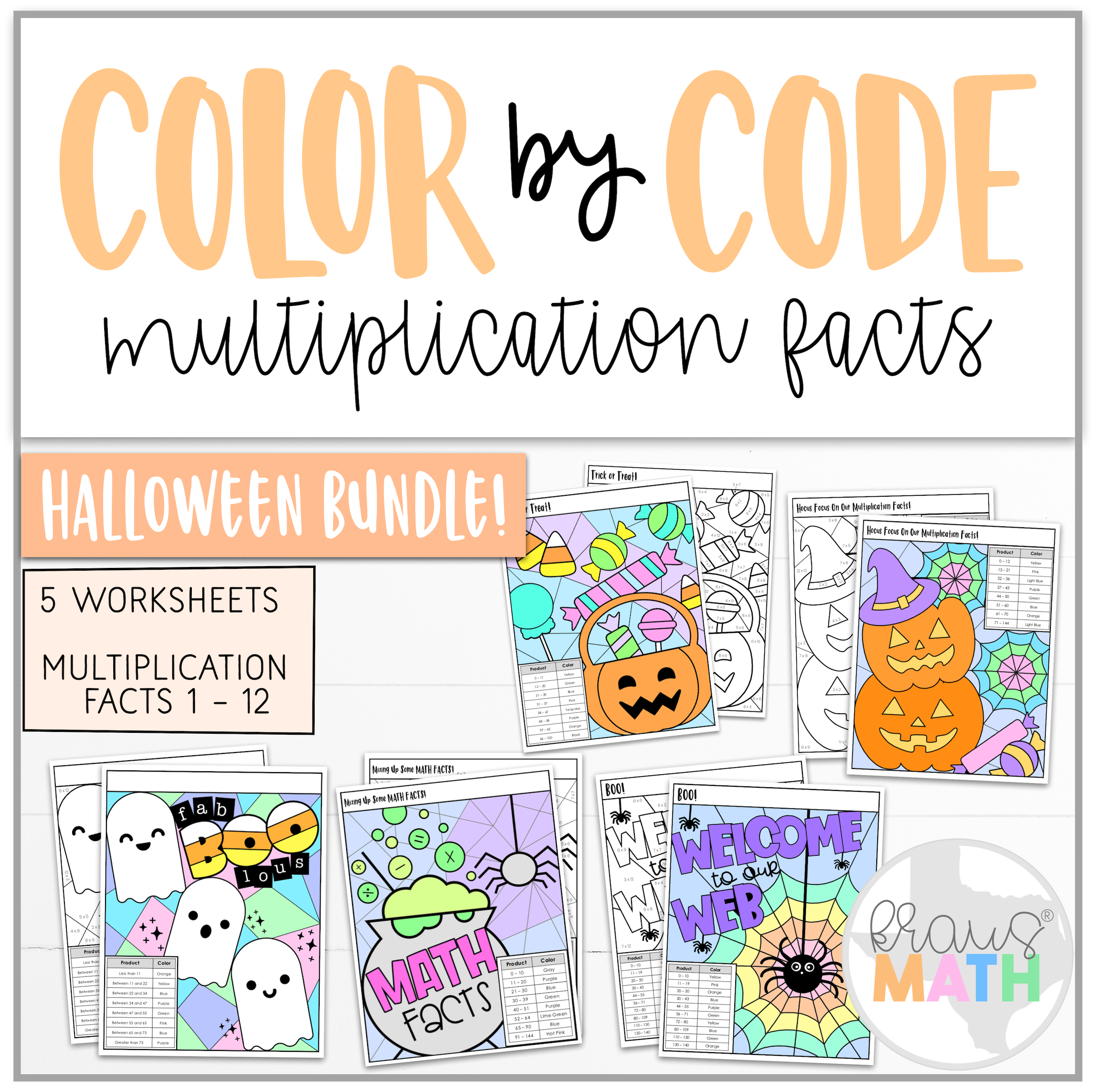 Color By Number Worksheet Halloween Bundle