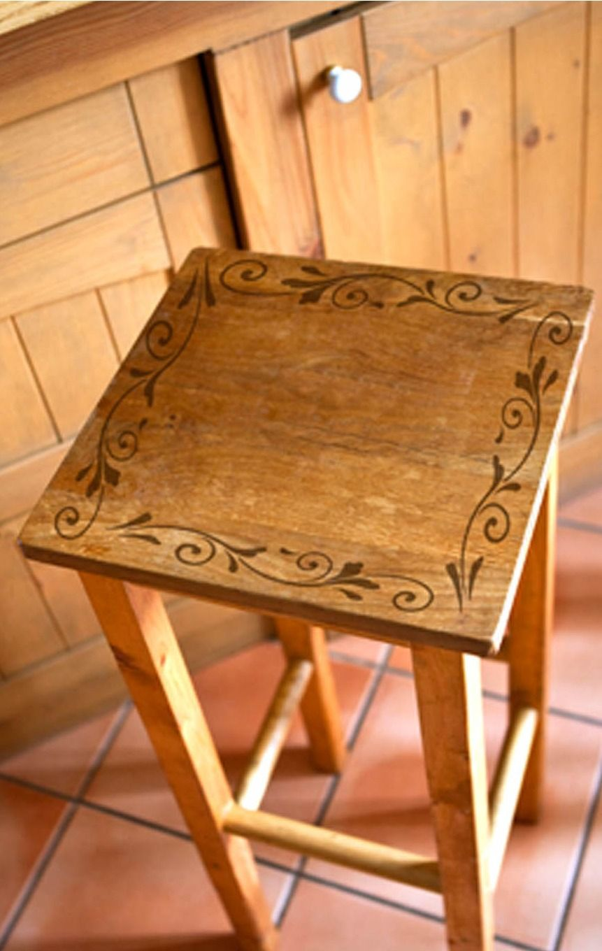 Paint A Simple Stencil On Plain Stool