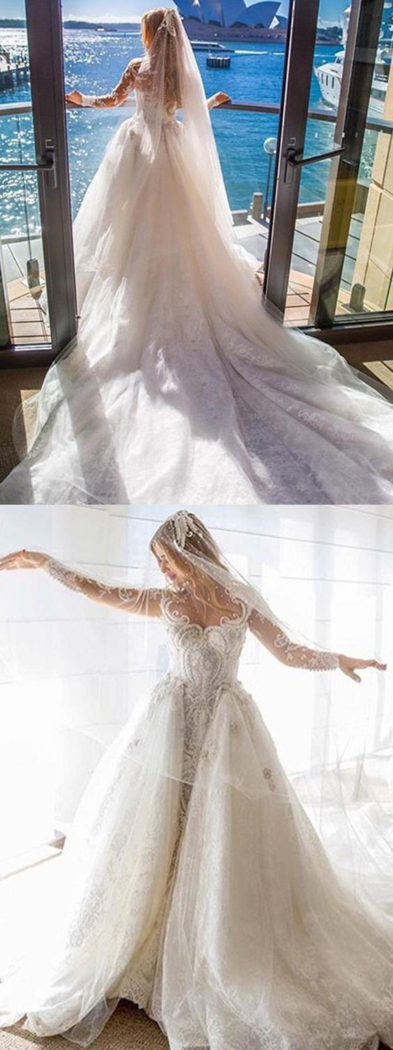 Sheath Scoop Long Sleeves Detachable Train Wedding Dress