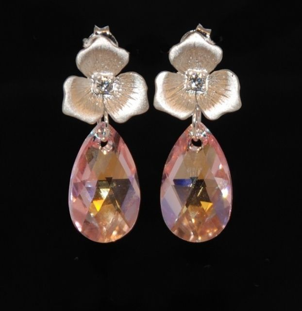 Flower Earrings with Light Rose Pink AB Pear