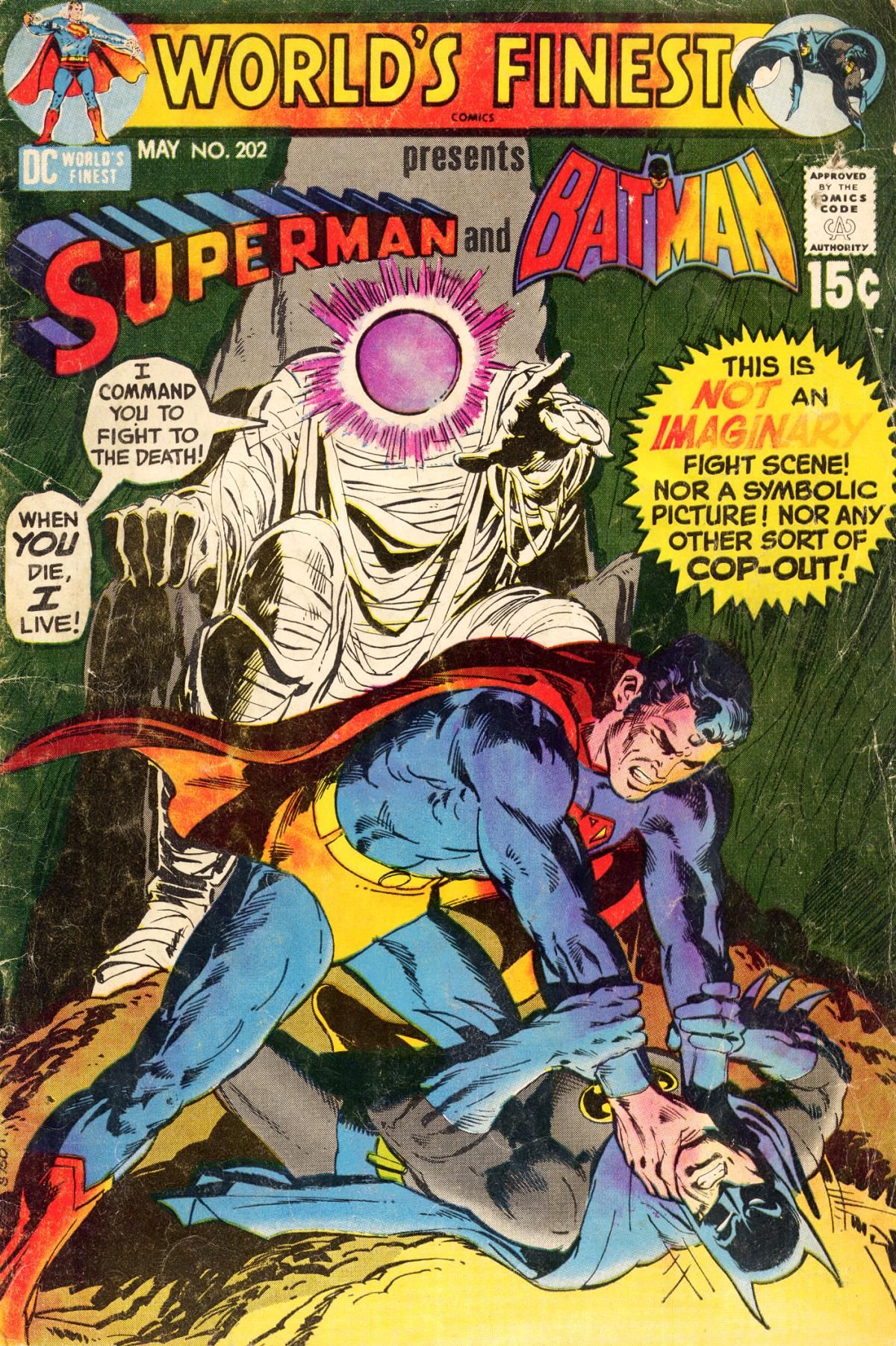 """""""This is NOT an IMAGINARY fight scene!"""" :-) - World's Finest Comics #202 (May 1971) - Cover by Neal Adams and Dick Giordano"""