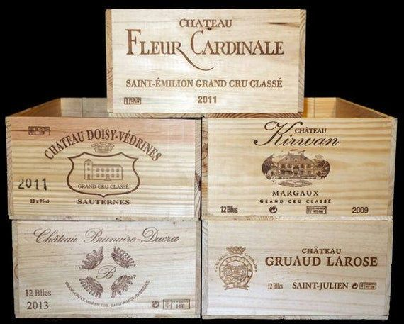 Grand Cru Classe 12 Bottle French Wooden Wine Box First Growth Wine Crate Ideal For Storage Solutions Or For Your Cellar Store In 2020 Wine Crate Wine Box Wooden Wine Boxes