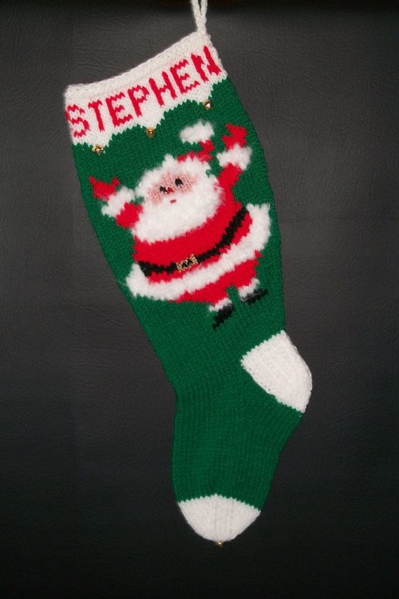 Hand Knitted Custom Order Vintage Santa Christmas Stocking ...