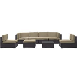 Modway EEI-1830-EXP-MOC-SET Gather 8 Piece Outdoor Patio Sectional Set in Espresso Mocha