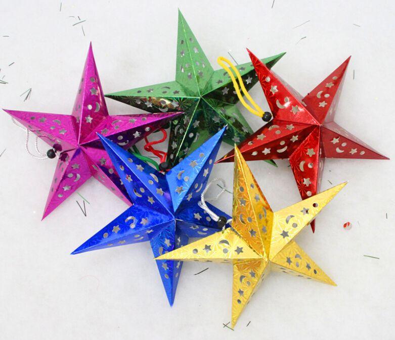 10 stuks 3d pentagram plafond kerst papier ster ornamenten kerstversiering levert 30cm kan gemengde kleur 5 in  van  op Aliexpress.com