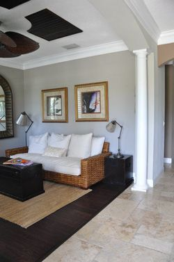travertine tiles and bamboo wood floors! yes, please!
