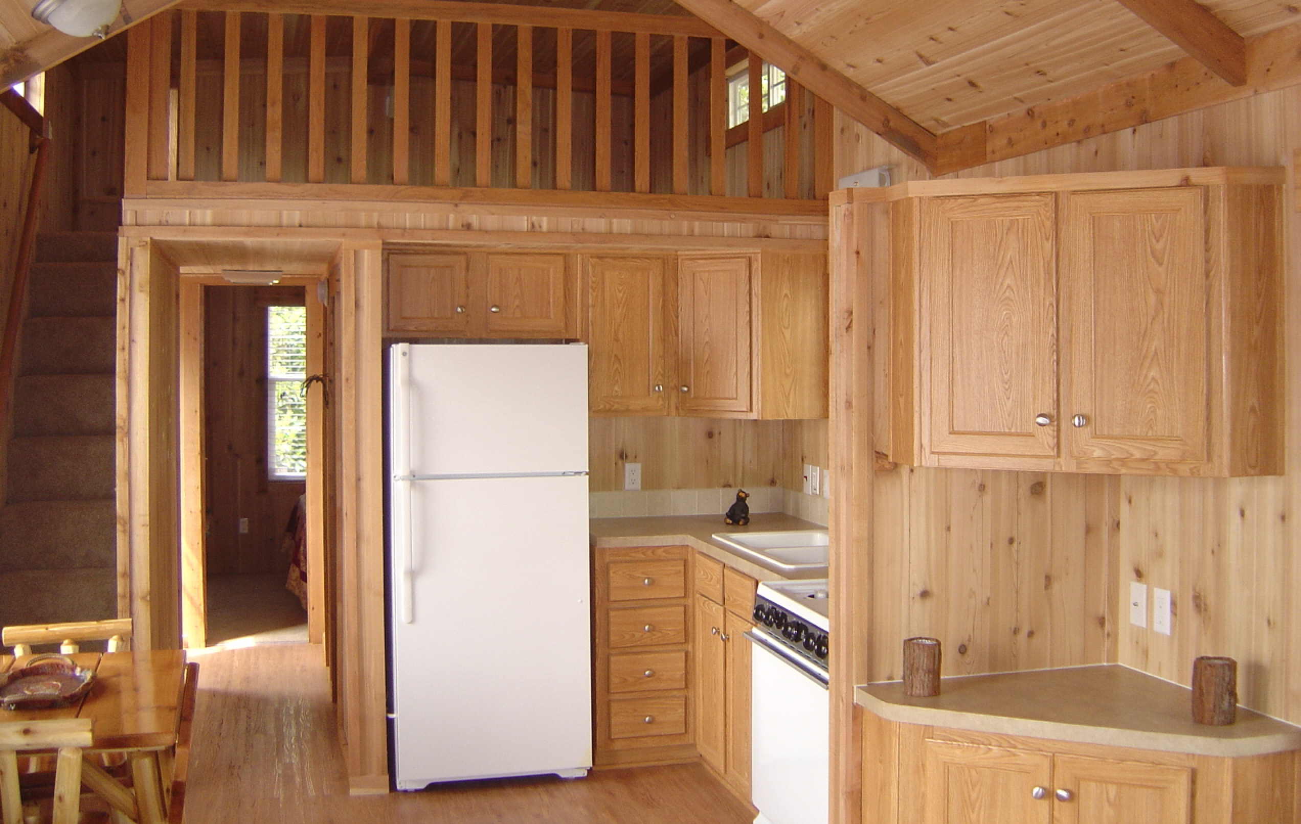 Small cabin kitchen, (don\'t need the corner thing) tiny stairwell up ...