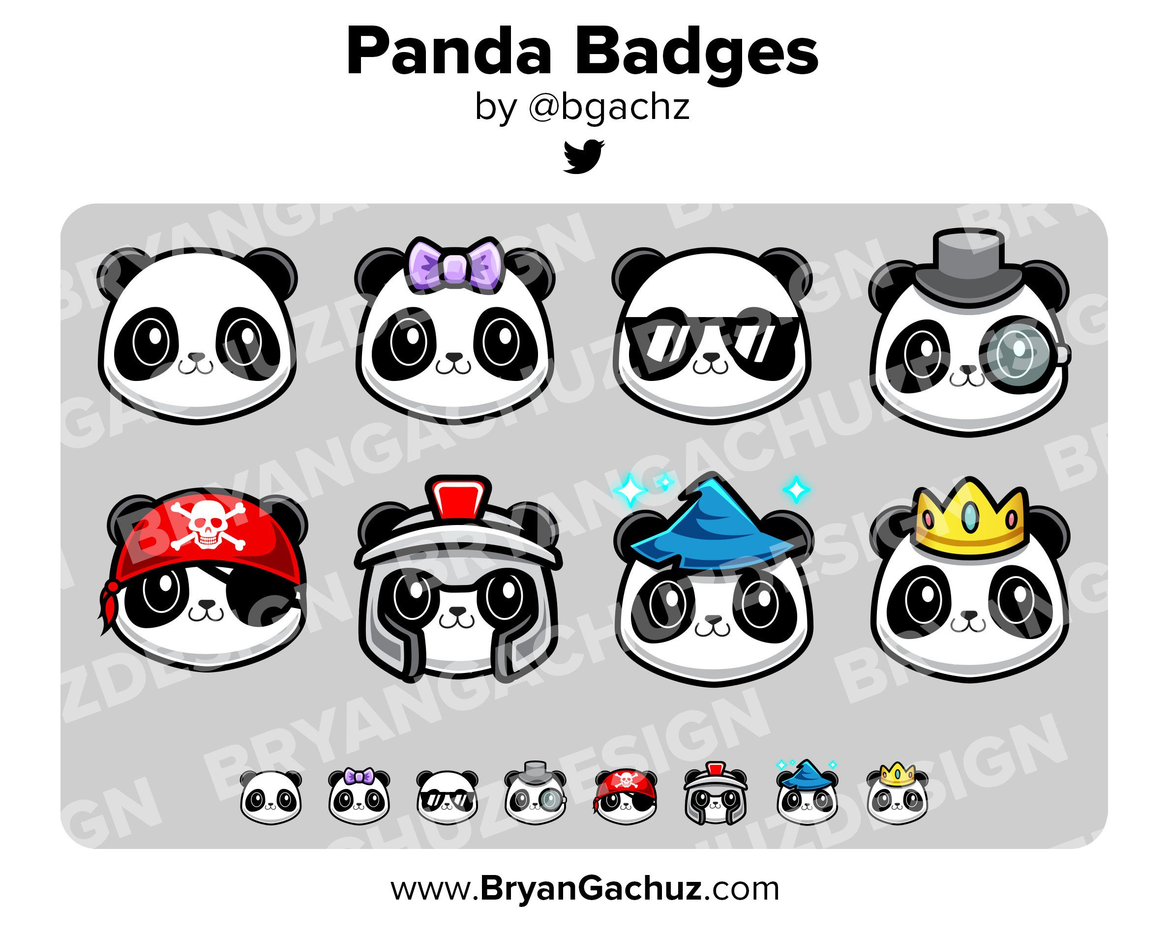 Panda subscriber loyalty bit badges for twitch discord or