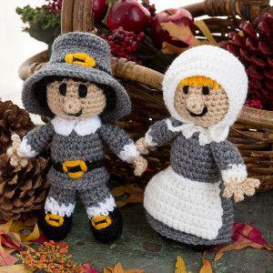 "A Happy Pair of Pilgrims/ easy / FREE CROCHET pattern/ 9"" H"