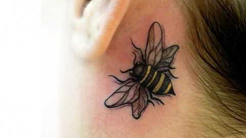 Behind The Ear Tattoos Bumble Bee Tattoo Honey Bee Tattoo Behind Ear Tattoos