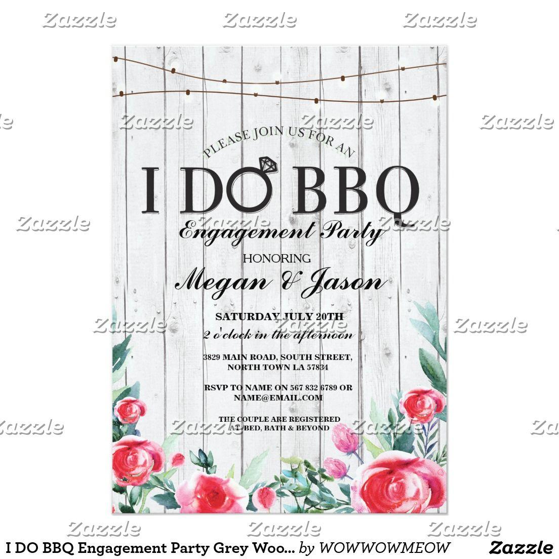 I DO BBQ Engagement Party Grey Wood Invitation