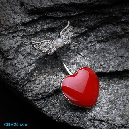 Adorable Angel Heart Belly Button Ring