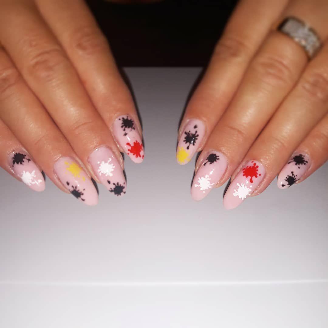 Nudziaki Plus Kolorowe Kleksy Nail Nails Manicure Paznokcie