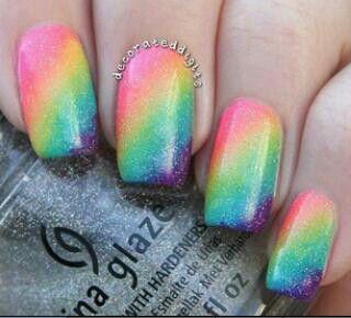 rainbow ombre nails gorgeous