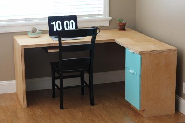 L Shape Modern Plywood Desk Plywood Desk Plywood Projects Diy Desk Plans