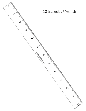 This printable 12-inch ruler has 1/32-inch divisions. Free