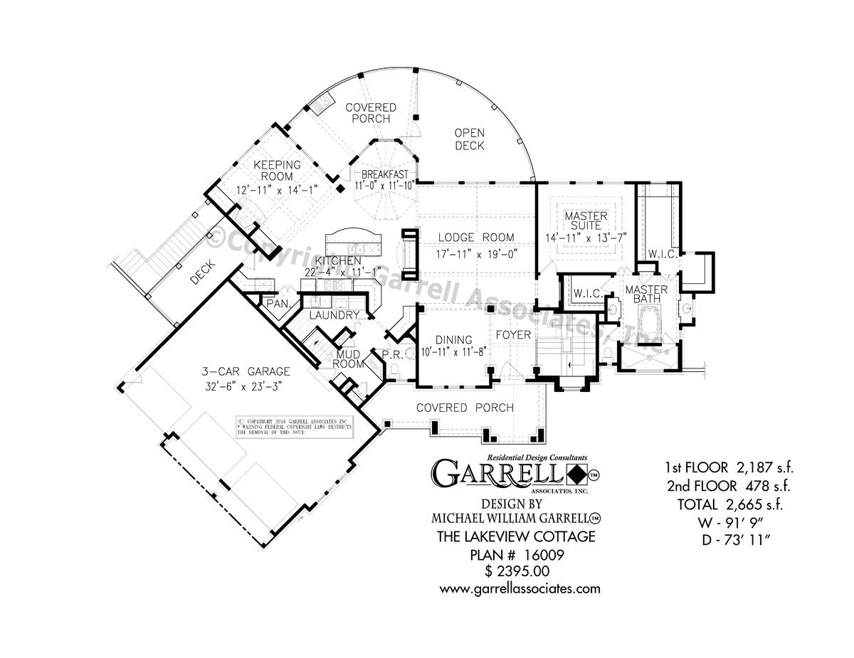 Lakeview Cottage House Plan 16009, 1st Floor Plan, Craftsman Style ...