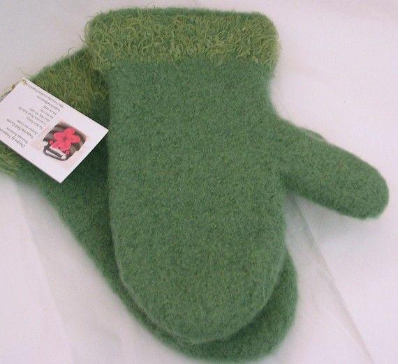 Sage Green Felted Mittens Women's Medium by DesignsbyFredericka, $35.00