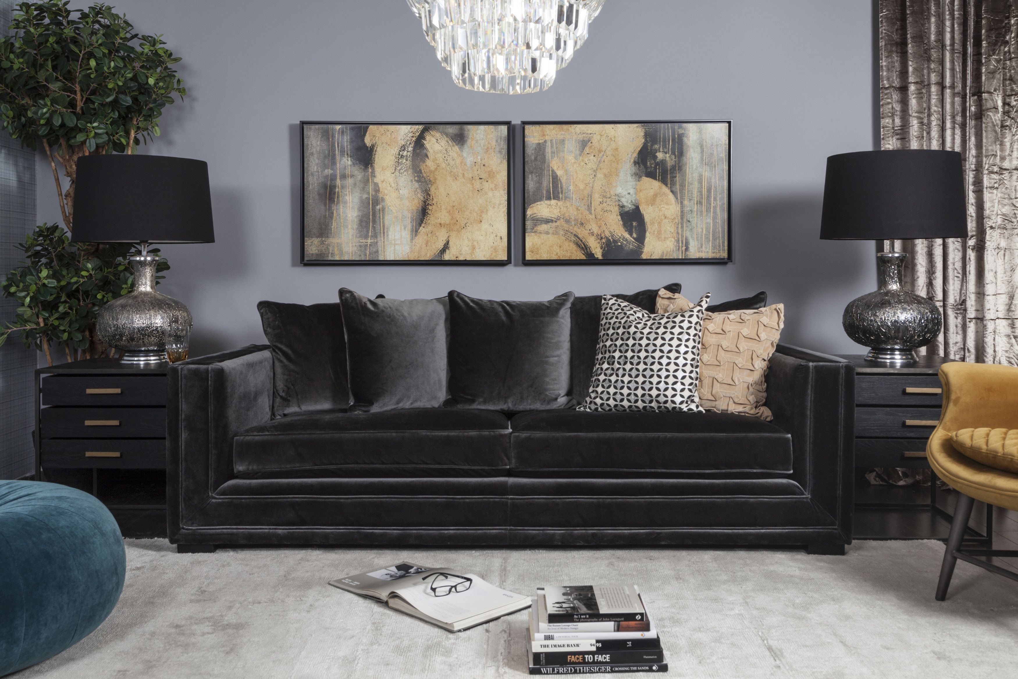 Iconic Living Dark Sofa In Between Big And Bold Accessories For