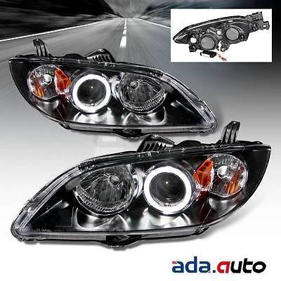 2004 2008 Mazda 3 Sedan Ccfl Halo Projector Black Headlights Pair Mazda 3 Sedan Black Headlights Mazda 3
