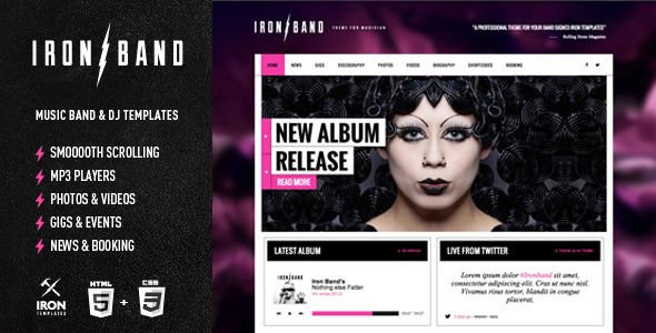IronBand Responsive Music Band DJ Template Pinterest