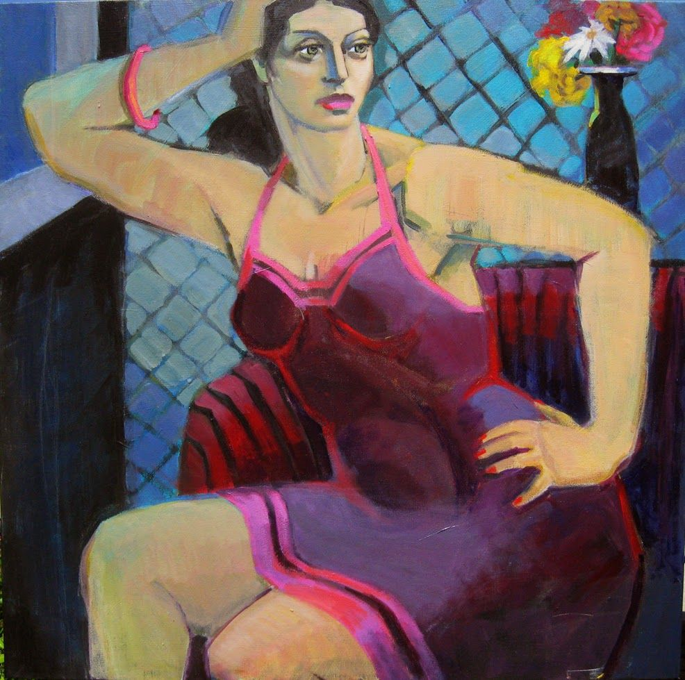 "Marie Fox Painting A Day. Any Time Now, Figurative Painting of Woman, Acrylic on Stretched Canvas, Figurative painting of woman,  30"" x 30"""