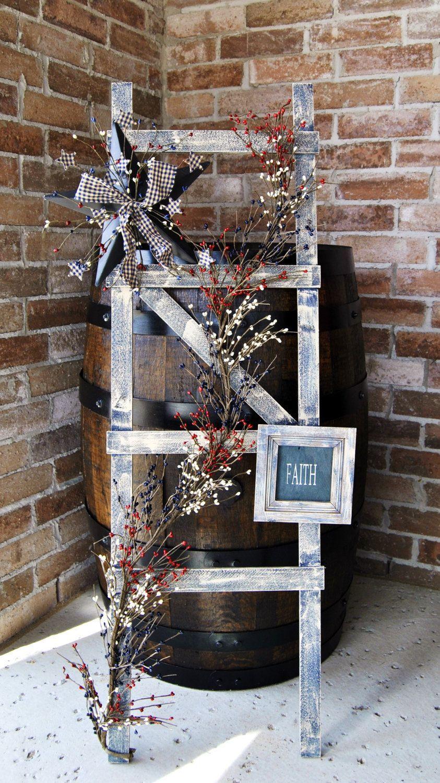 Rustic ladder with pip berry garland primitive ladder primitive