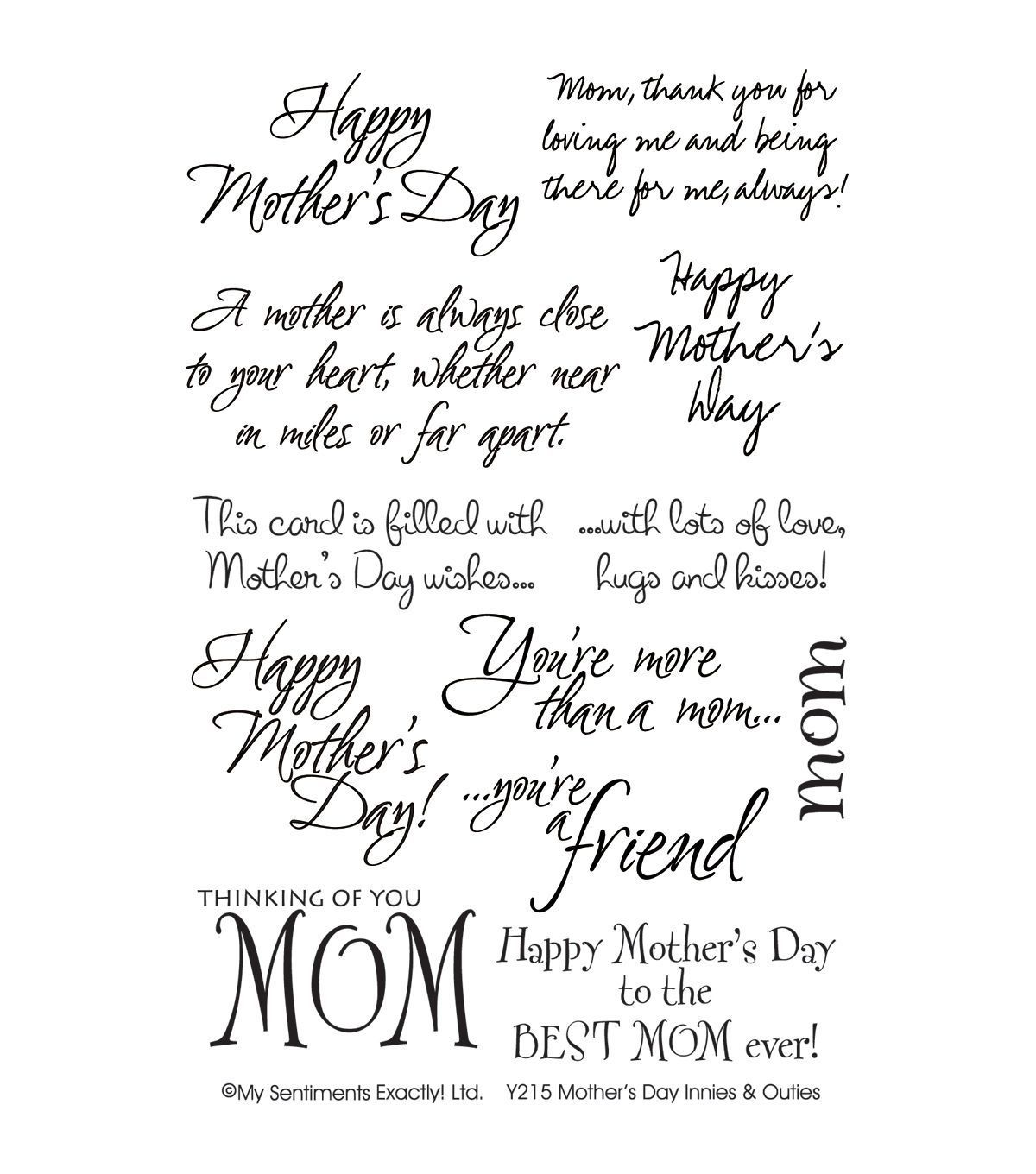 Happy Mother/'s Day Little Script Clear Stamp to Make Personalise Cards