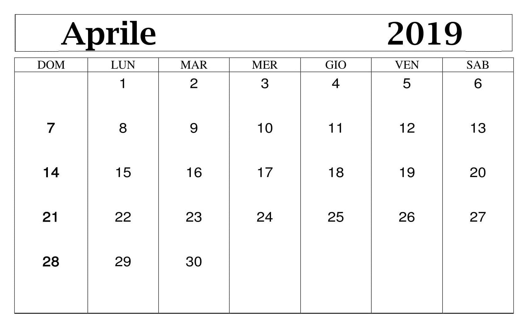 Calendario Con Note.Calendario 2019 Da Stampare Con Note Aprile Calendario
