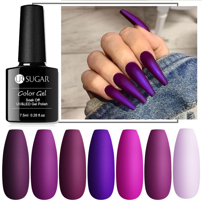 UR SUGAR 7.5ml Nude Glitter Gel Nail Polish Purple Series