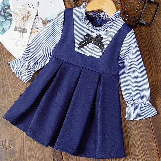 Baby Girl Dresses Baby Dress Kid Baby Girl Short Sleeve Heart Sailor Collar Bow Princess Dress Clothes for 12-18 Months
