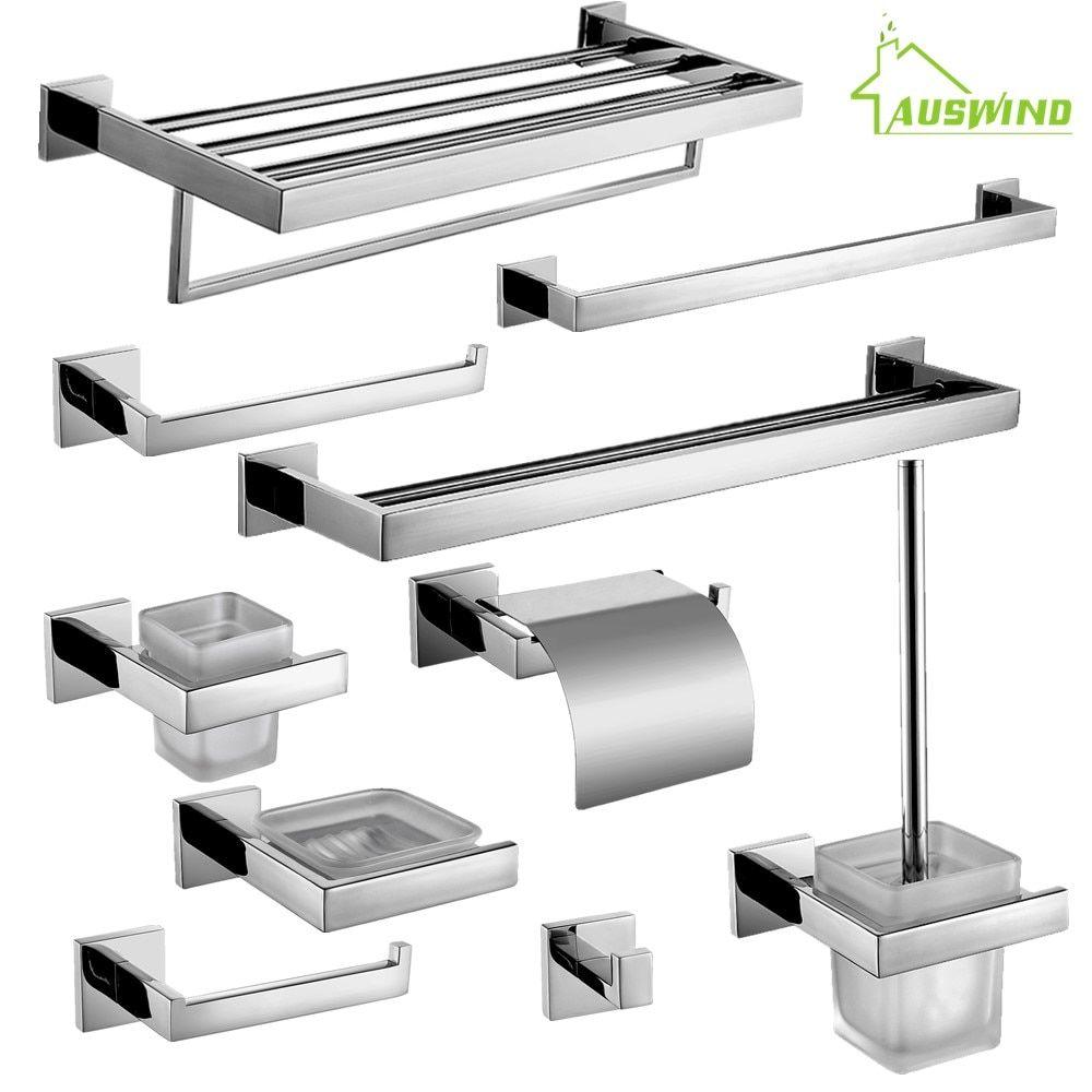 Universe Of Goods Buy Auswind Stainless Steel Square Base Bathroom Hardware Set Bathroom Hardware Set Stainless Steel Bathroom Accessories Bathroom Hardware