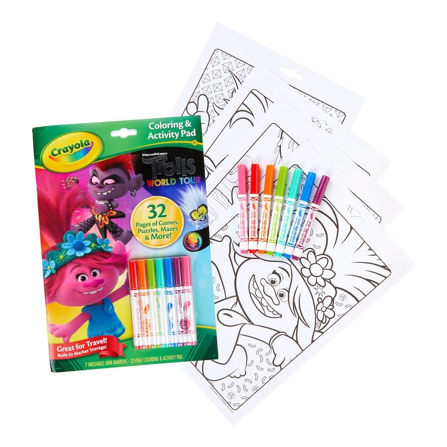 Dreamworks Trolls World Tour Coloring Activity Pad With Markers By Crayola Coloring Stickers Color Activities Crayola