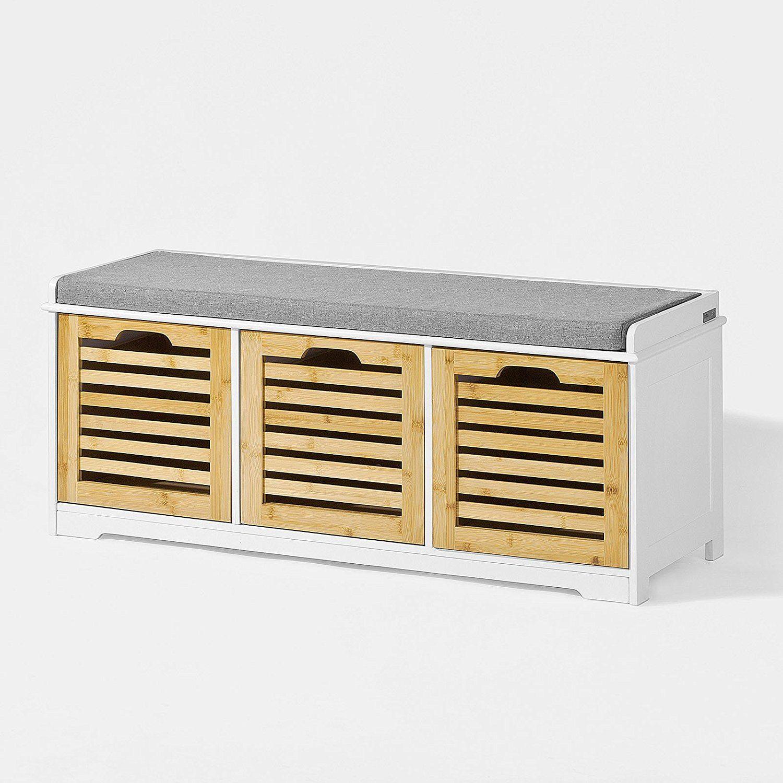 Sobuy Fsr23 Wn Banc De Rangement Avec Coussin Rembourre Et 3 Cubes Meuble D Entree Commode A Chaussure Banqu Banc De Rangement Meuble Rangement Meuble Entree
