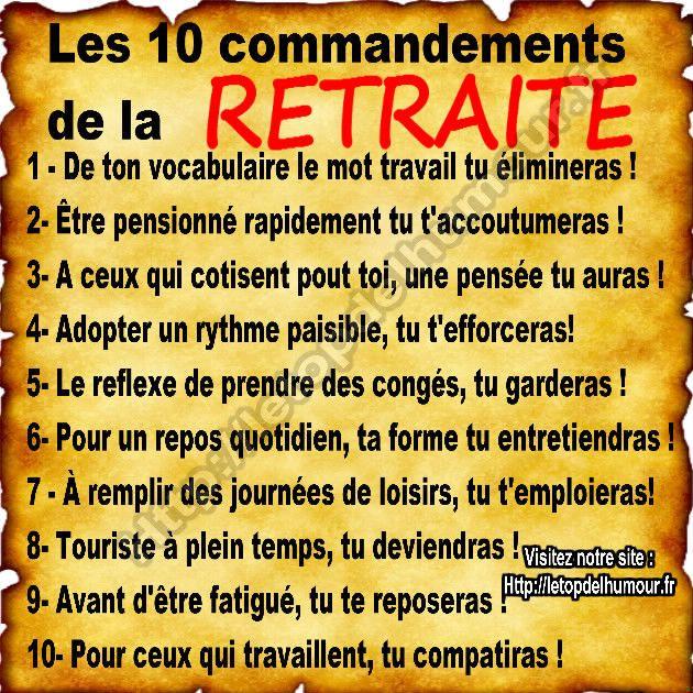 Les 10 Commandements De La Retraite Retraite Citation