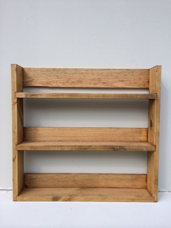 Reclaimed Rustic Wooden Spice Rack 3 Shelves By