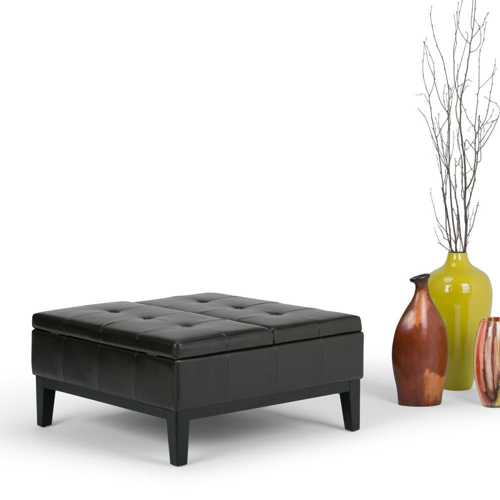 Awesome Dover 36 In Contemporary Square Storage Ottoman In Tanners Onthecornerstone Fun Painted Chair Ideas Images Onthecornerstoneorg