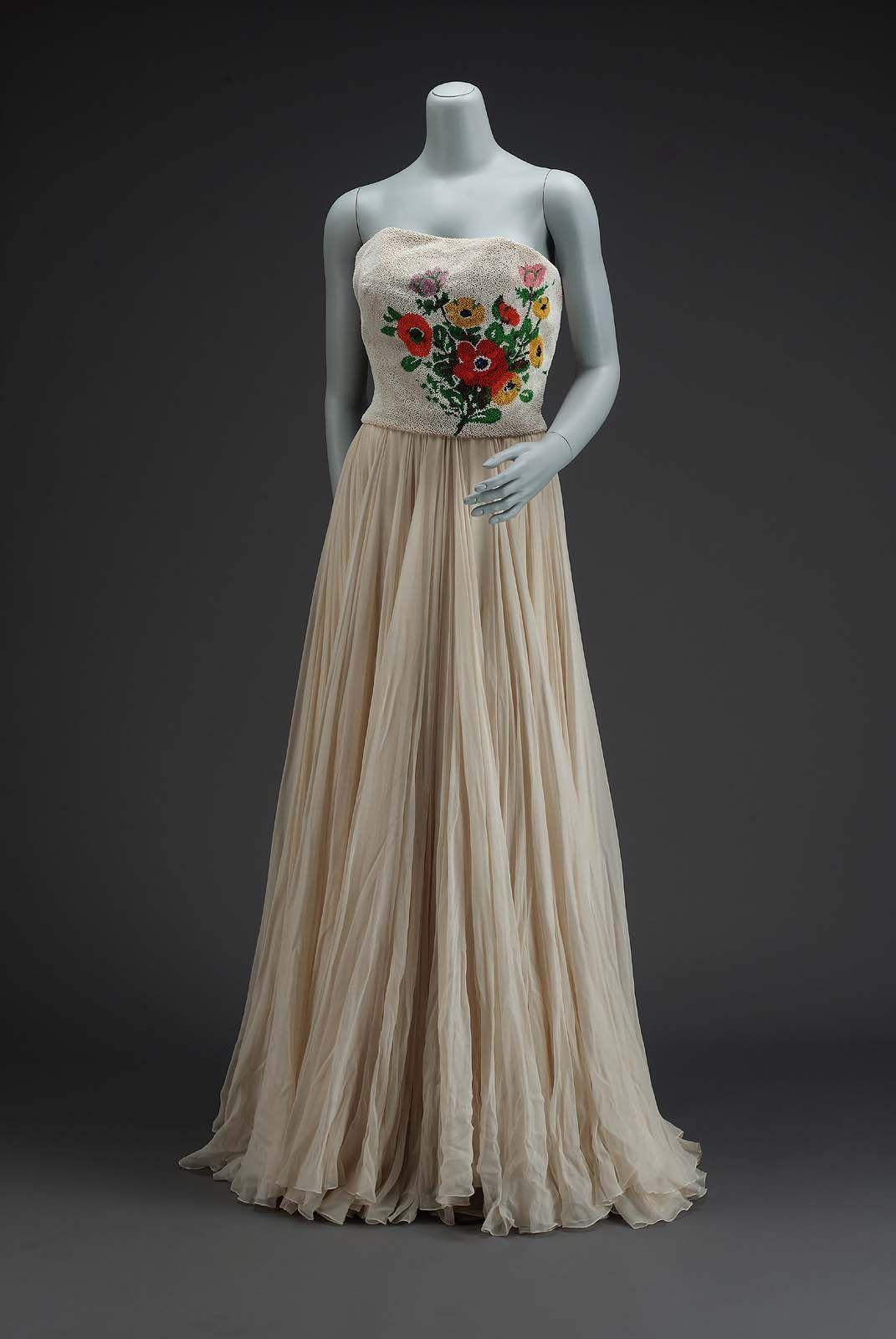 Spring america long dinner dress by nettie rosenstein silk