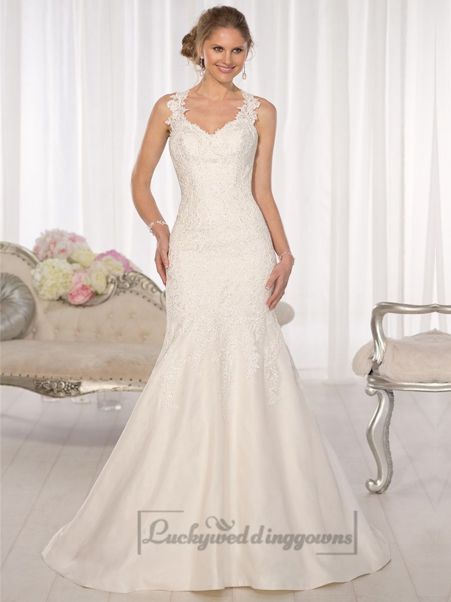 Open back wedding dresses lace  Straps Fit and Flare Sweetheart Lace Wedding Dresses with Low Open