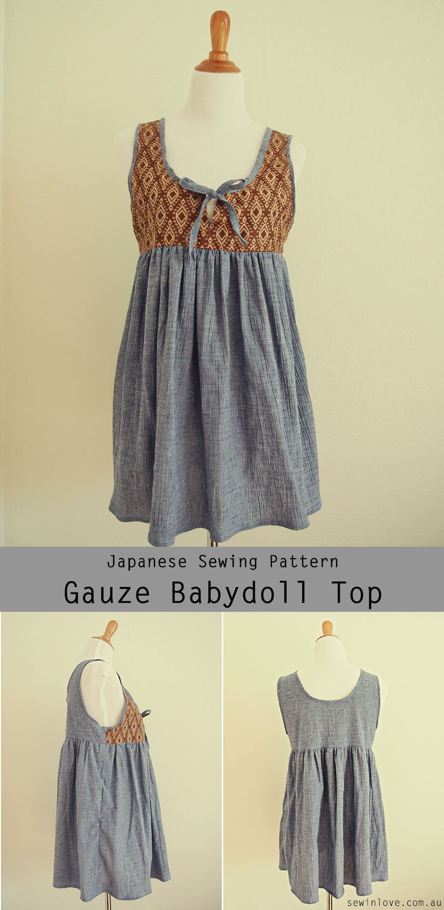 Cute Maternity and Nursing Babydoll Top - Japanese Sewing Pattern ...