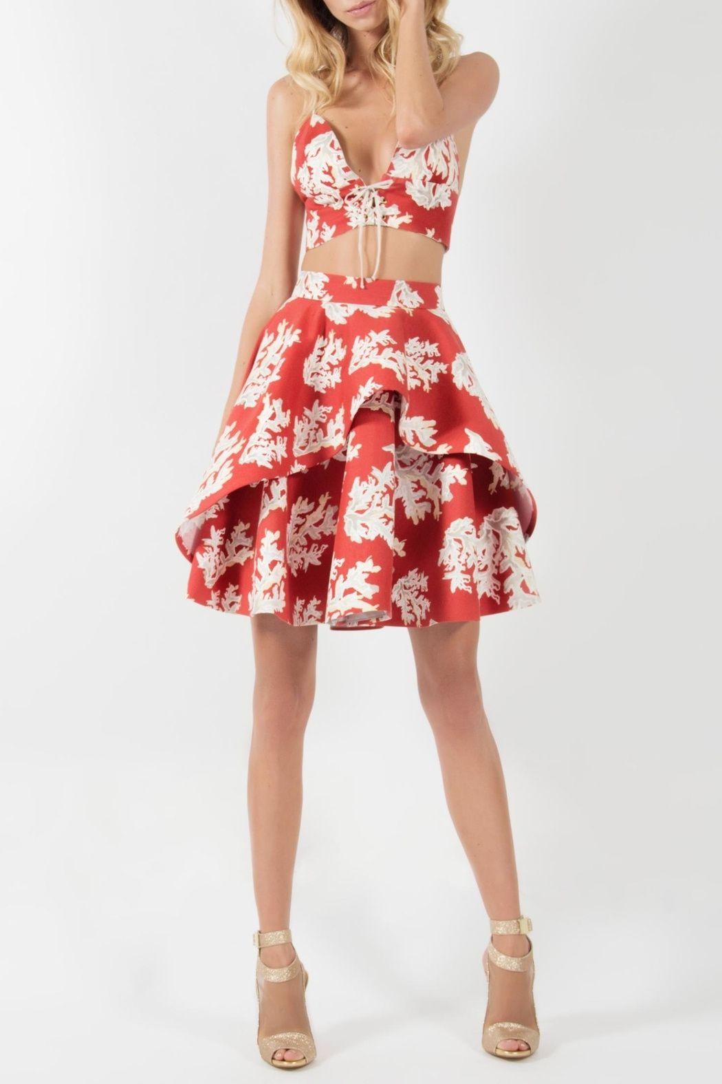 1d1292a7f8e Two piece short dress matching set. High waisted printed full skirt